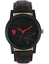 SPINOZA Black Dial And Black Leather Belt Unique Design In Dial Analogue Watch For Boys And Girls