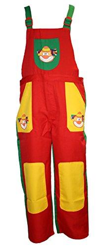 Latz-Hose in rot/grün/gelb mit Clown-Kopf | Größe XL | einteiliges Clown-Kostüm für Erwachsene (XL)