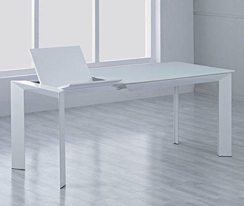 Designer Esstisch Sever IK Ausziehbar 140-200x90cm. Glastisch Ultraweiß