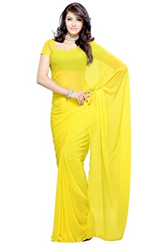 Vivera Georgette Saree (Vr_Yellow2_Yellow)