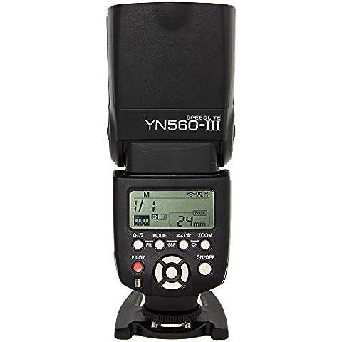 Yongnuo YN560 III - Flash con zapata (ángulo de giro 0-270 grados, 8 niveles de control de salida, 29 niveles de ajuste fino),
