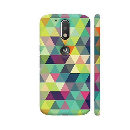 Colorpur Trippy Triangles Multicolor Printed Back Case Cover for Moto G4 Plus Logo Cut