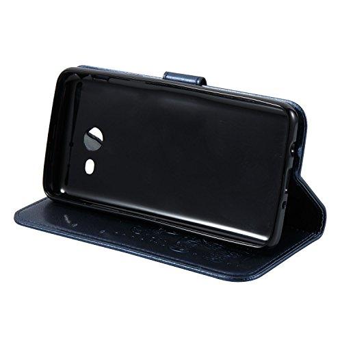 Für Samsung Galaxy J7 Prime Premium Leder Schutzhülle, weiche PU / TPU geprägte Textur Horizontale Flip Stand Case Cover mit Lanyard & Card Cash Holder ( Color : Brown ) Blue