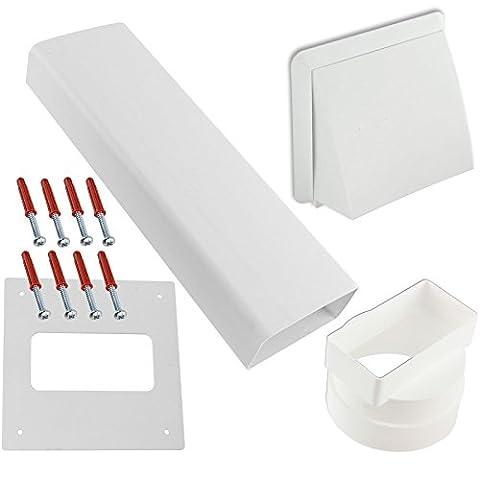 spares2go Kit de grille d'aération FIESTA murale externe pour CANNON Sèche-linge ventilé (Blanc)