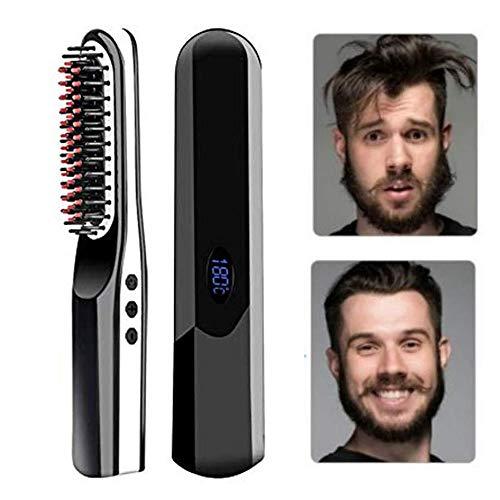 Beard Straightener, USB Rechargeable Inalámbrico Cepillo Alisador de Pelo, Portátil Anti Escaldado Barba Alisador Plancha Peine Alisador para Todo Tipo de Cabello