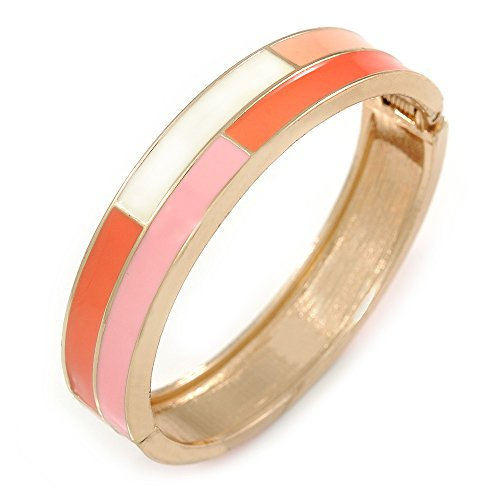 Pink/Weiß/Coral Emaille Oval Scharnier Armreif Armband in Gold Tone Metall – 20 cm L