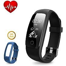Fitness ritmo cardíaco Rastreador, DBPOWER IP67impermeable pulsera inteligente con seguimiento de actividad reloj con contador de calorías podómetro + reloj banda de repuesto para Android y iOS, Black + Blue