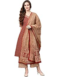 INDO ERA Women's pure cotton A-Line kurta set with palazzo (Maroon)