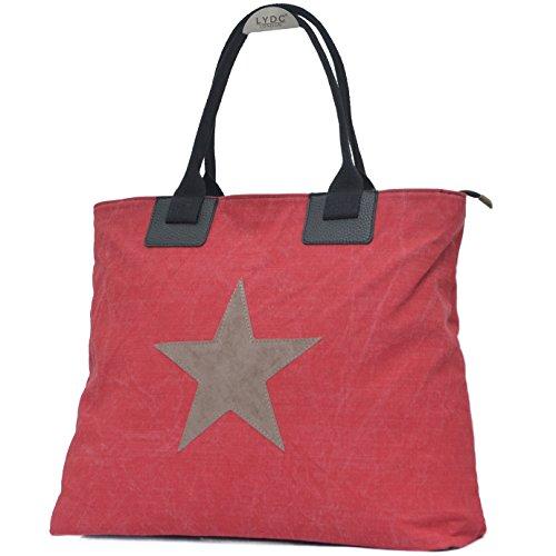 Vain Secrets großer Canvas Damen Shopper mit Stern Rot