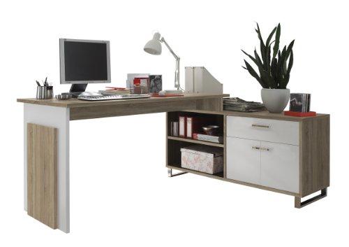 BEGA 39-730-68 Manager Eck-Schreibtisch, Eiche Sonoma Dekor, Tisch 140 x 76 x 65 cm, Sideboard 130 x 62 x 40 cm