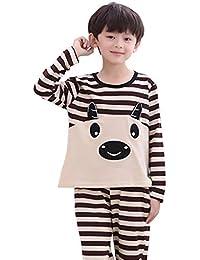 Meng Wei Shop Pijamas Dos Piezas Pijamas Chico Pijamas de algodón para niños de Manga Larga