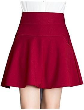 Mujeres Elástica Cintura Alta Falda Plisada Corto Falda Color Sólido Con Bolsillo
