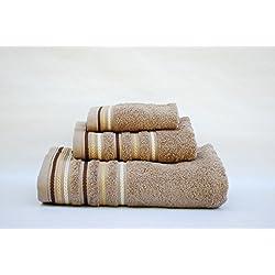 Juego toallas 3 piezas. 100% algodón ALTA CALIDAD. Densidad 520 gr/m2. Cordón TIERRA