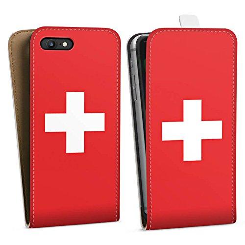Apple iPhone 6 Silikon Hülle Case Schutzhülle Schweiz Flagge Switzerland Downflip Tasche weiß
