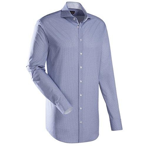 JACQUES BRITT Herren Hemd Custom Fit Brown Label 1/1-Arm, extra lang Bügelleicht Uni / Uniähnlich City-Hemd Hai-Kragen Manschette weitenverstellbar blau (0018)
