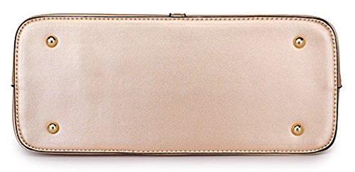 Tibes fête des mères PU cuir sac à main + épaule de sac de femmes de la mode + porte-monnaie + carte 4pcs mis Blanc
