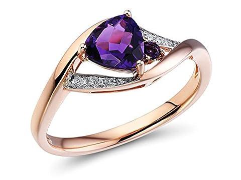 Bague Améthyste en Forme de 10K Trillion or rose avec accents de diamant - Ametista Promise Ring
