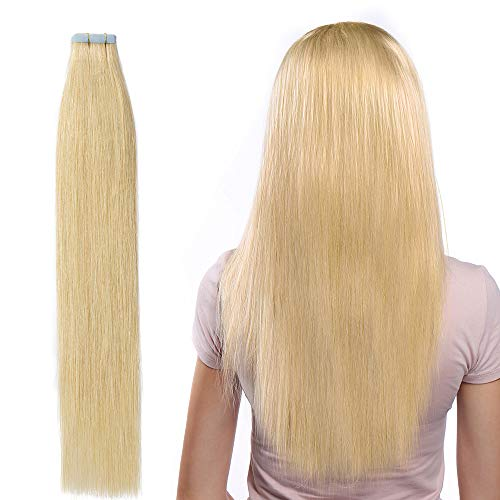 55cm extension capelli veri adesive riutilizzabili - 20 fasce * 2.5g #24 biondo naturale - 100% remy capelli umani tape in