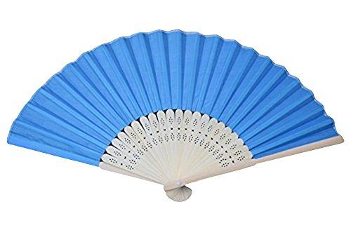 Rangebow SHF03 Bleu clair/Bleu Lot de 10 Commerce de gros en soie élégant Éventail en bambou cadeau mariage faveur de la cage thoracique