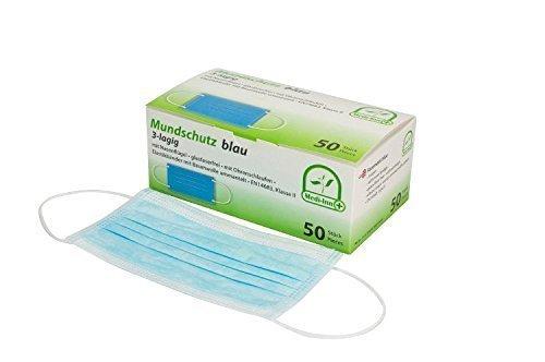 Mundschutz 3-lagig mit Nasenbügel glasfaserfrei mit Ohrenschlaufen 50 Stück von Medi-Inn (blau)