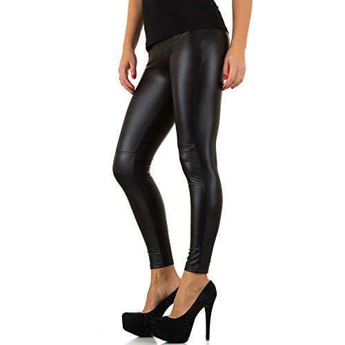 Lederoptik Leggings Für Damen bei Ital-Design Schwarz