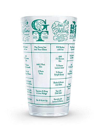Kitchen Craft Fred Good Measure vaso de recetas con Gin, vidrio, Transparente, 9 x 9 x 15 cm
