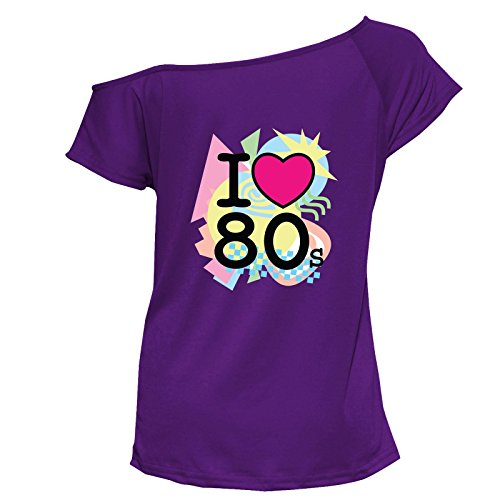 YTHH Fashion Womens I Love The 80s Print Tshirt#(6223#Purple T Shirt/I Love The 80s Print#UK 8)