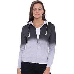 Campus Sutra Women Grey Zipper Hoodie(AW16_ZHSPR_W_PLN_CHGR_M)
