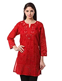 Saadgi Lucknowi Chikankari Handcrafted Handmade Net Jaali Work On Neck And Border Machine Aari Chikan Embroidered...