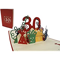 LIN-POP UP Grußkarten zum 30. Geburtstag, Geburtstagskarten Grußkarten Glückwunschkarten, 30. Jahre