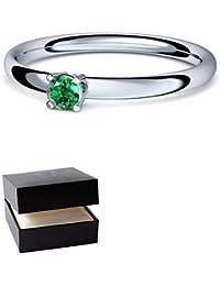 Smaragd Ring Silber 925 (***sehr hochwertiger Smaragd 3 mm***) + GRATIS Luxusetui Silberring grüner Stein Silberring Smaragd Smaragdringe Ringe Damen Schmuck AM161 SS925SMFA
