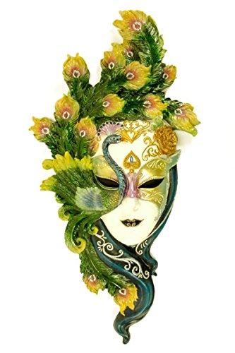 Máscara Decorativa de Pared Veneciana 'Plumas Colores'. 27 x 55 x 7 cm.