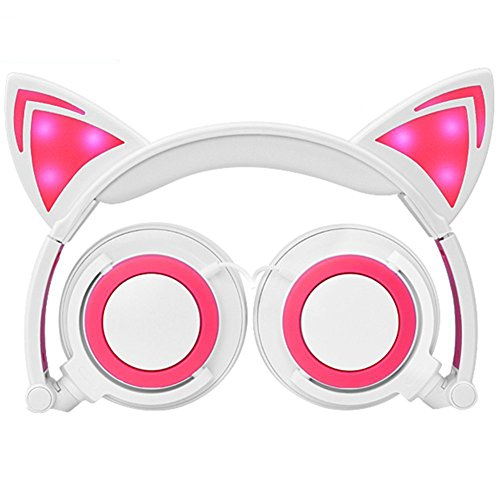 Beats Blau Pink Und (Katze Ohr verdrahtete blinkende helle Kopfhörer faltbare justierbare HearsetsFlash Blue Light for Mp3)