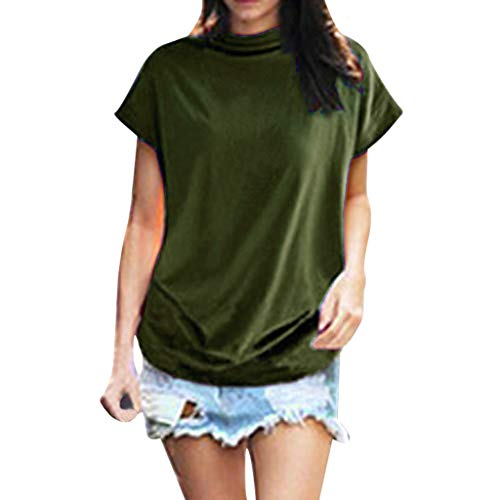 Oksea Stehkragen Damen Lose Stehkragen Kurze Ärmel Damen Women Turtleneck Short Sleeve Cotton Solid Casual Blouse Top T Shirt Plus Size