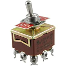 sourcingmap® AC 250V 15A 9 terminales de tornillo de encendido / apagado / encendido 3PDT pestillos de palanca