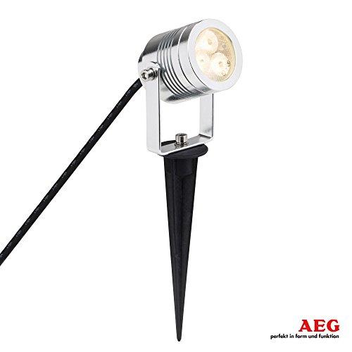 AEG 3W LED Spießleuchte Tormedo, IP65, H 27,5 cm, 210 Lumen, 3000K warmweiß, Aluminium / Kunststoff / Glas, alu