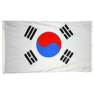 Annin South Korea Flag 3x5 ft. Nylon SolarGuard Nyl-Glo 100% Made in USA to Official United Nations Design Specifications Flagmakers. Model 197606