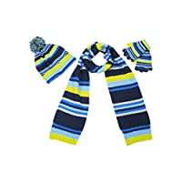 Scarf Hat and Glove Set for Boys - Colourful striped scarves for children - Age 4-8 years