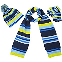 LOVARZI - Set de bufanda, gorro y guantes - Rayas - para niño azul multicolor Talla única
