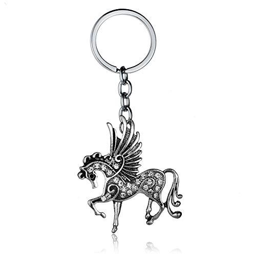 Kanggest. Llavero Original de Caballo Volador, Cadena de Clave de Unicornio Pequeños Coche Llaveros, Anillo de Llavero, Colgante de Coche con Diamante(5)