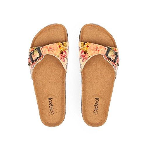 Ideal Shoes Lack Neckholder-Fuß mit schönem Blumendekor Salma Beige - Beige