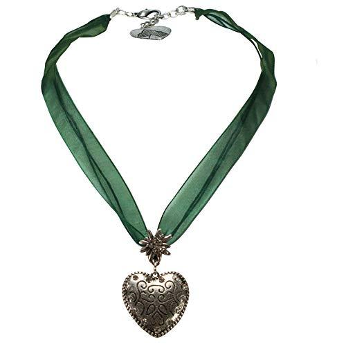 Alpenflüstern Organzaband-Trachtenkette Herz - Damen-Trachtenschmuck Dirndlkette grün DHK245
