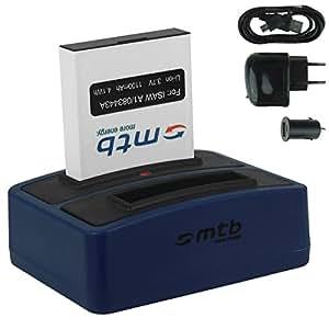 Batterie + Double Chargeur (USB/Auto/Secteur) pour ACTIONPRO X7, X7 Edition 2015 / ISAW 083443A / A1, A2 Ace, A3, Advance, Extreme