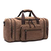 Unisex Canvas Holdall, Travel Carry On Bags Overnight Weekend/Weekender Bag for Men and Women (Brown)