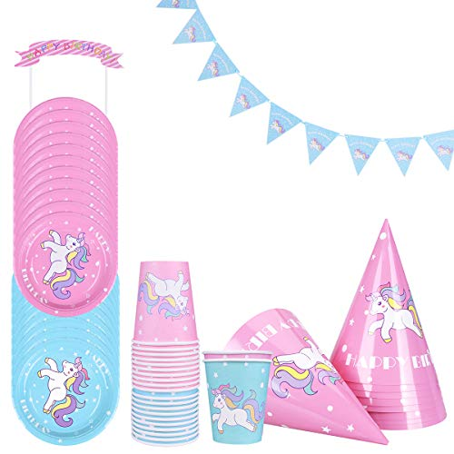 LegendTech Einhorn Party, 52 Teiliges Party Set Einhorn umfassen Tassen Platten Hüte Banner Cake Topper Einweg Geruchlos - Kindergeburtstag Mottoparty Pink Blau