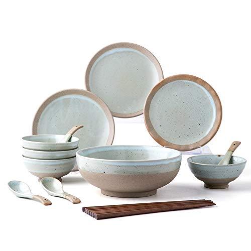 RKY Bol- Couverts de style japonais et le vent mis rétro combinaison vaisselle en grès à la main pays personnalité nostalgique plat 16 pièces combinaison /-/