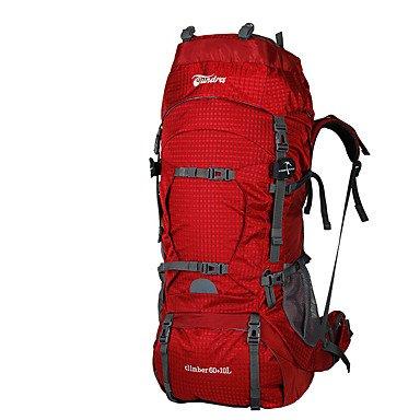60 L Tourenrucksäcke/Rucksack Rucksack Klettern Freizeit Sport Camping & Wandern ReisenWasserdicht Rasche Trocknung tragbar Atmungsaktiv Red
