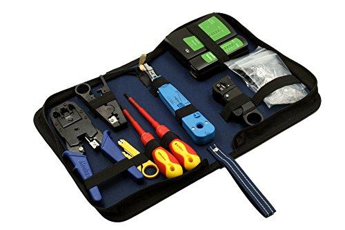 9 in 1 Hobby-Profi Netzwerk Werkzeug Set, Netzwerktasche, Netzwerktester, LSA Werkzeug, Netzwerkstecker