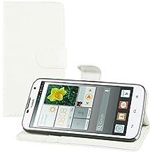 kwmobile Elegante funda de cuero sintético para el Huawei Ascend G730 con cierre magnético y función de soporte en blanco