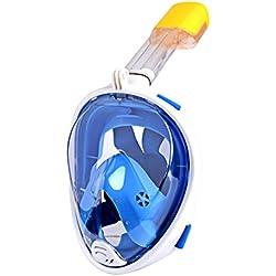 CkeyiN® Máscara de Buceo Visión 180 ° Anti-Fugas Anti-Niebla con Soporte de Cámara para Deportes Acuáticos Adulto - Azul
